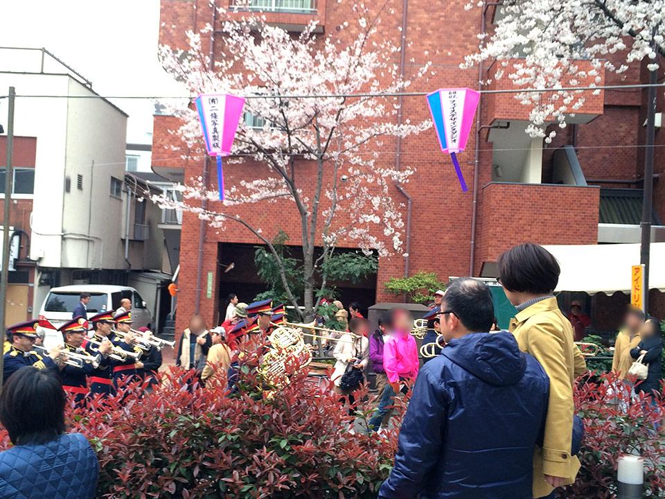 消防団によるブラスバンドが播磨坂の周りをぐるぐると廻る。