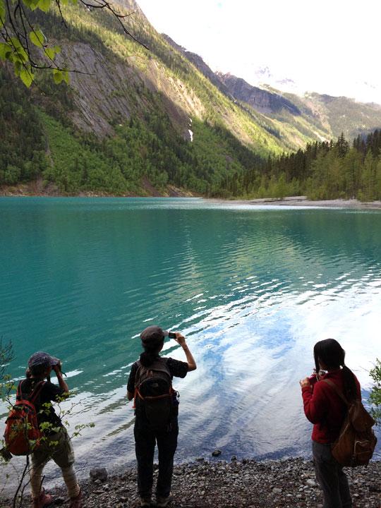 緑色の湖の近くまで来ました。疲れが癒える眺め。