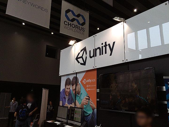 unityブースはさすがに大きくて会場のほぼ中央でした。