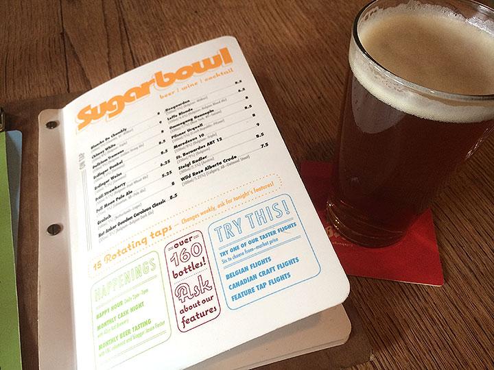 こちらがSugarbowlのメニュー。飲んだことがないビールの種類も豊富で迷います。