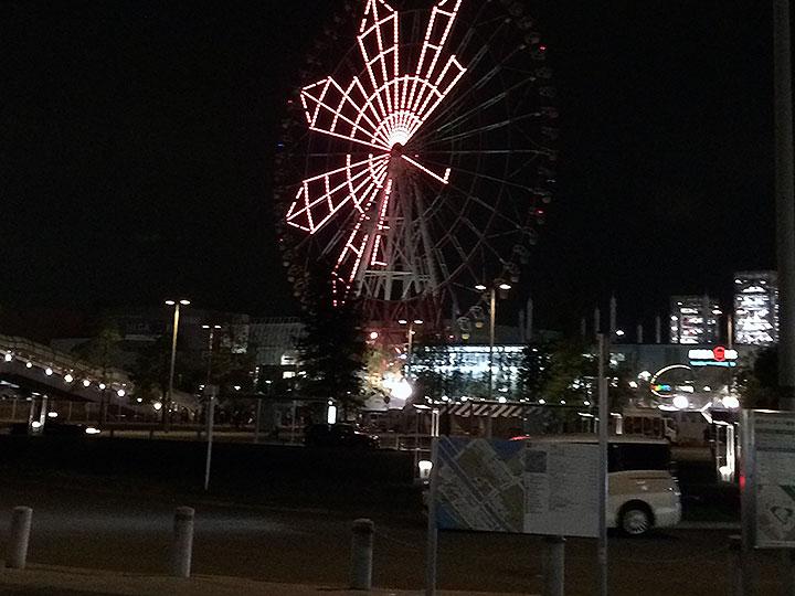 東京テレポート駅を降りて目の前のパレットタウンの観覧車の明かり。周りはカップルや家族連れ、中国人観光客で一杯でした。